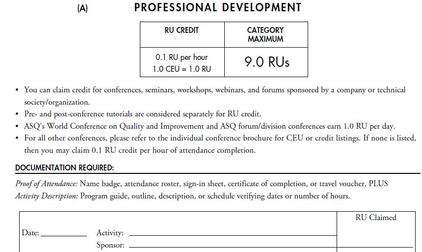 CQE Recertification by Professional Development